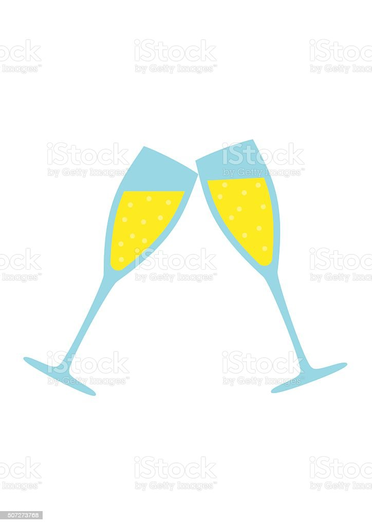 Champagne Glass isolated on white background. Wedding vector art illustration
