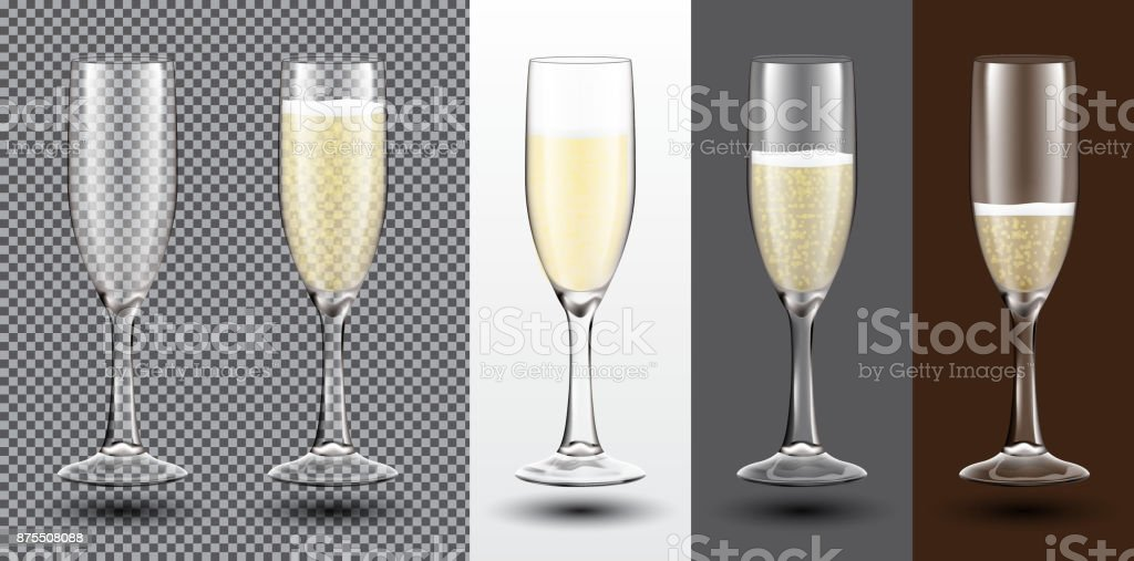 Champagne Glass Set on Different Backgrounds. vector art illustration