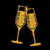 e0ca1f8250 ... Champagne glass vector icon. Golden sparkle champagne glasses on black  background ...