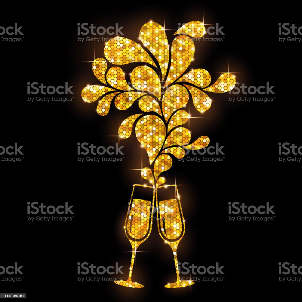 c3ea47f149 Champagne glass vector icon. Golden sparkle champagne glasses on black  background - Illustration .