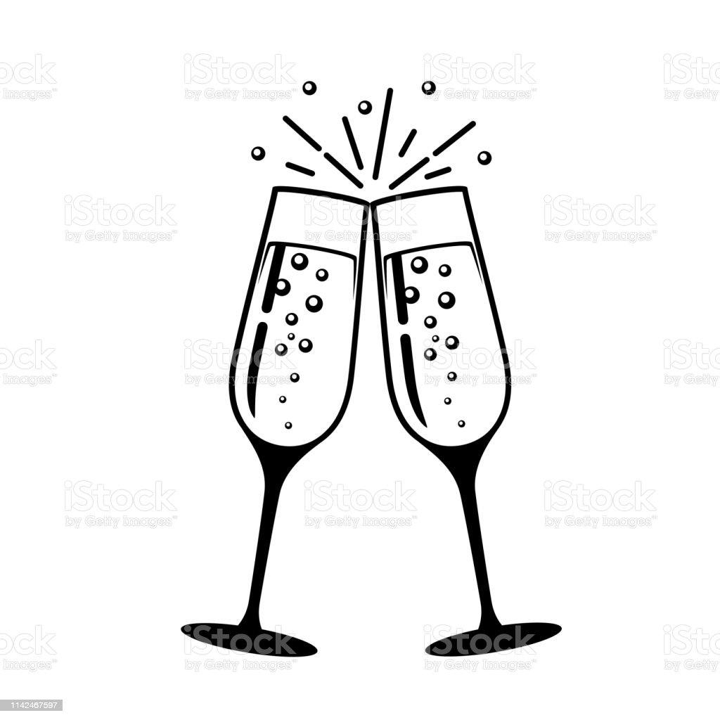 Champagner-Glasvektor-Symbol. - Lizenzfrei Alkoholisches Getränk Vektorgrafik
