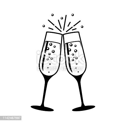 istock Champagne glass vector icon. 1142467597