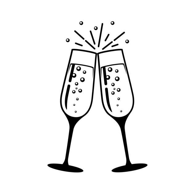 ilustrações, clipart, desenhos animados e ícones de ícone de vidro do vetor de champagne. - brinde