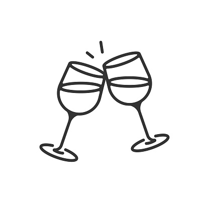 Champagne Glasses and Cheers Icon. Celebration, Holidays Outline Vector Design on White Background.