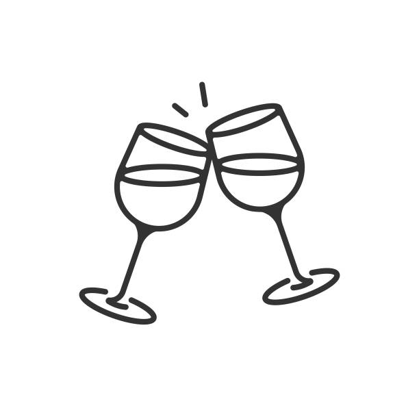 Champagne Glasses and Cheers Icon. Celebration, Holidays Outline Vector Design on White Background. Vector Illustration EPS 10 File. wineglass stock illustrations