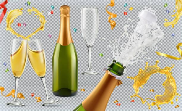 bildbanksillustrationer, clip art samt tecknat material och ikoner med champagne. glas, flaska, splash. 3d realistiska vector ikonuppsättning - flaska
