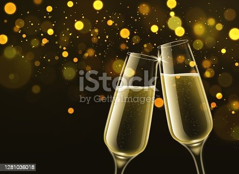 istock Champagne glasses. Celebratory sparkling wine in realistic 3d clink wineglasses and gold bokeh effect, congratulatory toast symbol festive new year party selebration vector background 1281036018
