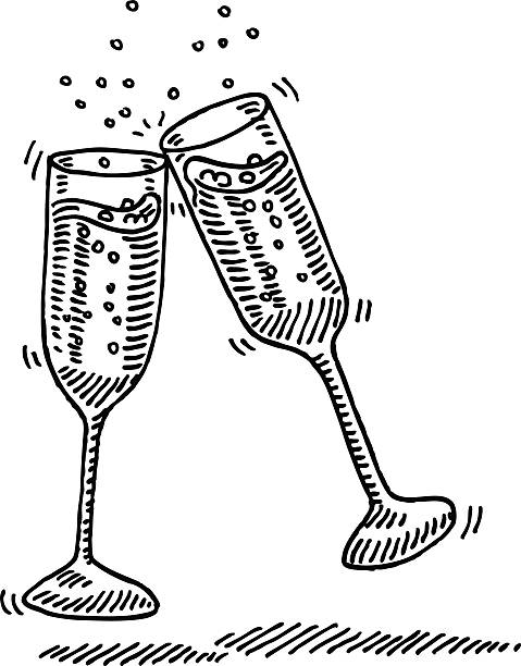 Champagne Glasses Cheers Drawing Hand-drawn vector drawing of two clinking Champagne Glasses. Black-and-White sketch on a transparent background (.eps-file). Included files are EPS (v10) and Hi-Res JPG. celebration stock illustrations