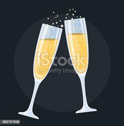 istock champagne glasses Flat Design 900757848