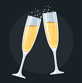 champagne glasses Flat Design