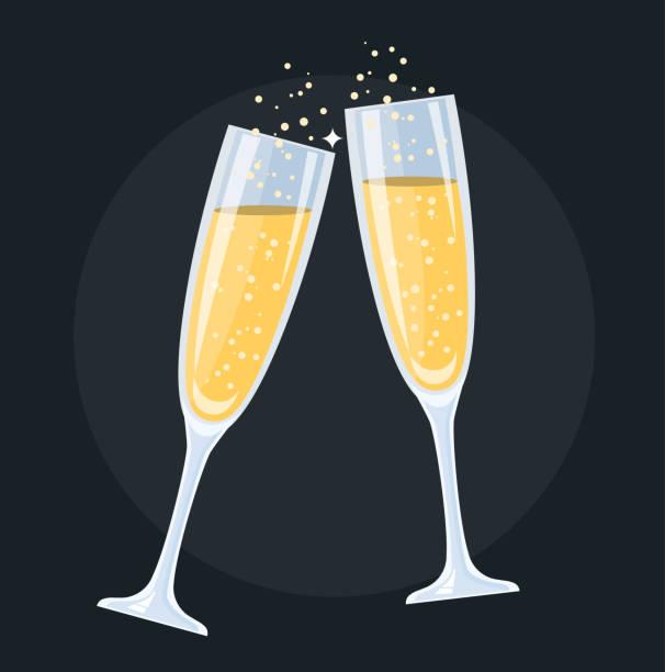 ilustrações, clipart, desenhos animados e ícones de copos de champanhe flat design - brinde