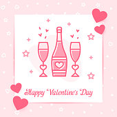 Champagne bottle and glasses with hearts valentine card, love text, Valentines day, february 14, decor pink line icon, social networks post template. Love, wedding, romantic symbol Vector illustration