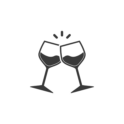 Champagne glasses icon. Glasses with wine in flat style. Vector