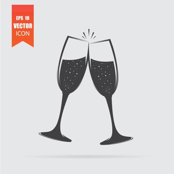 ilustrações, clipart, desenhos animados e ícones de ícone de taças de champanhe em estilo simples, isolado no fundo cinza. - brinde