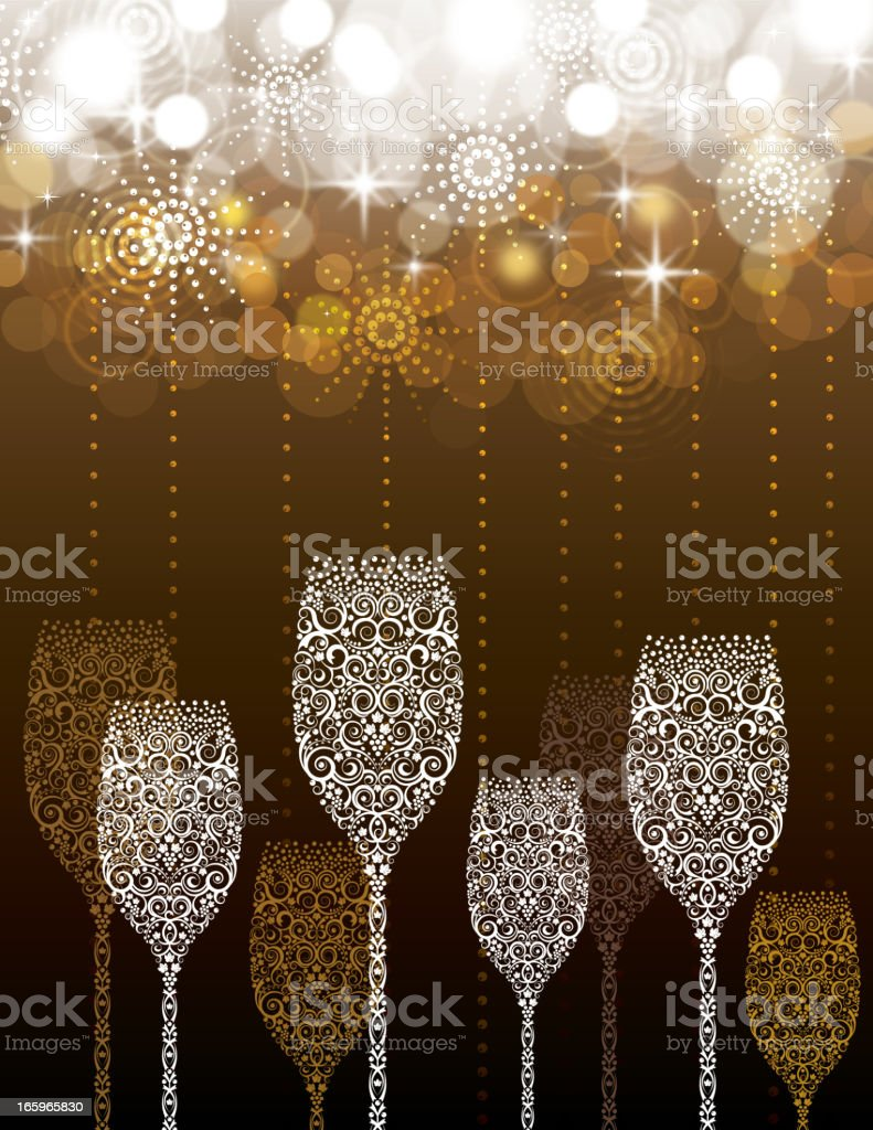 Champagne glasses on abstract fireworks background royalty-free stock vector art