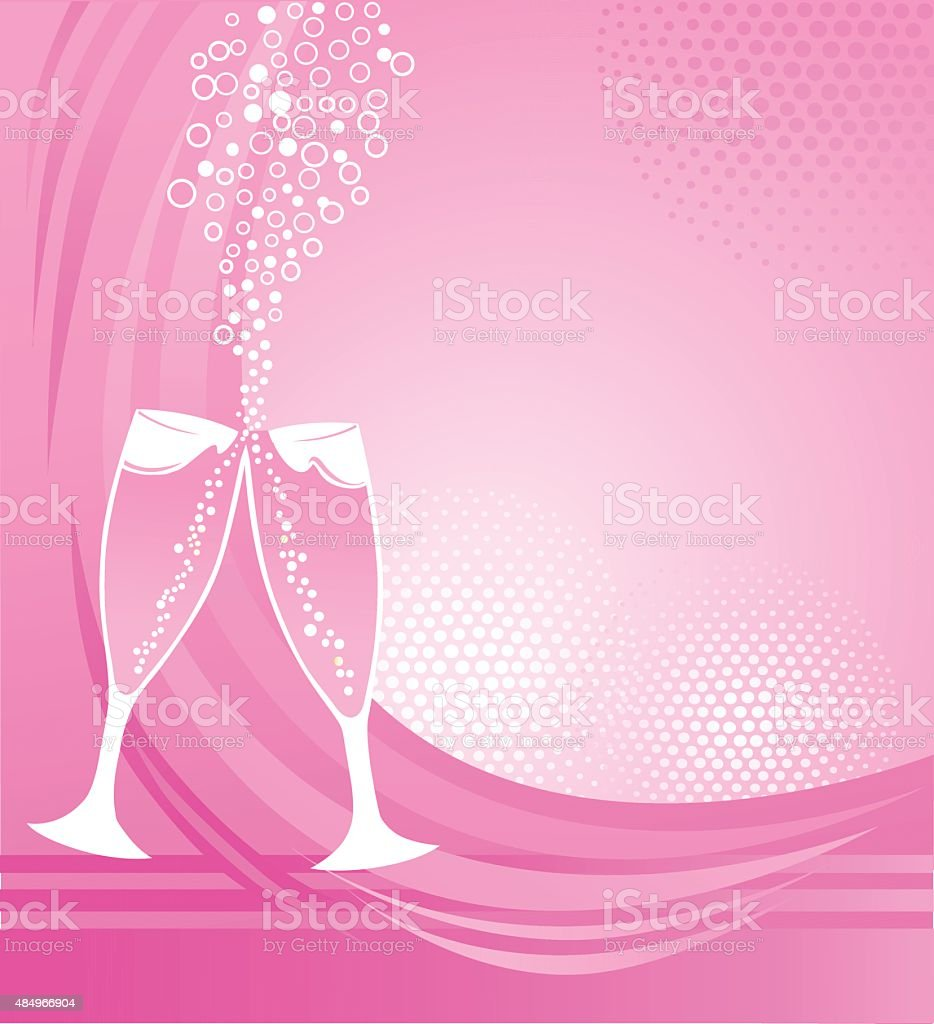 Champagne Glasses on Pink Background - Celebration vector art illustration