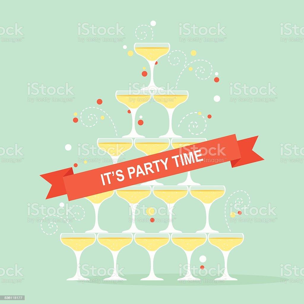 Champagne Glasses Pyramid vector art illustration