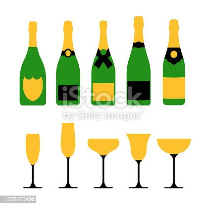 istock Champagne glasses with champagne bottles. Vector stock illustration 1226173498