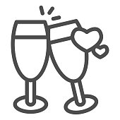 istock Champagne glasses with heart line icon, valentine day concept, two glasses of drink sign on white background, toast to love icon in outline style for mobile concept. Vector graphics. 1287531586