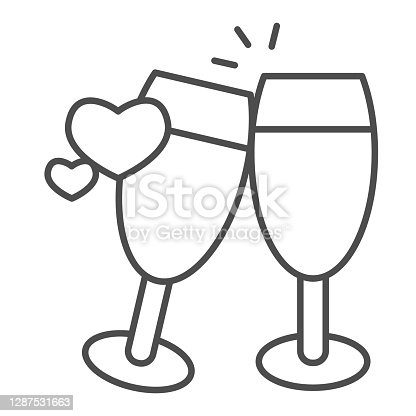 istock Champagne glasses with heart thin line icon, valentine day concept, two glasses of drink sign on white background, toast to love icon in outline style for mobile concept. Vector graphics. 1287531663