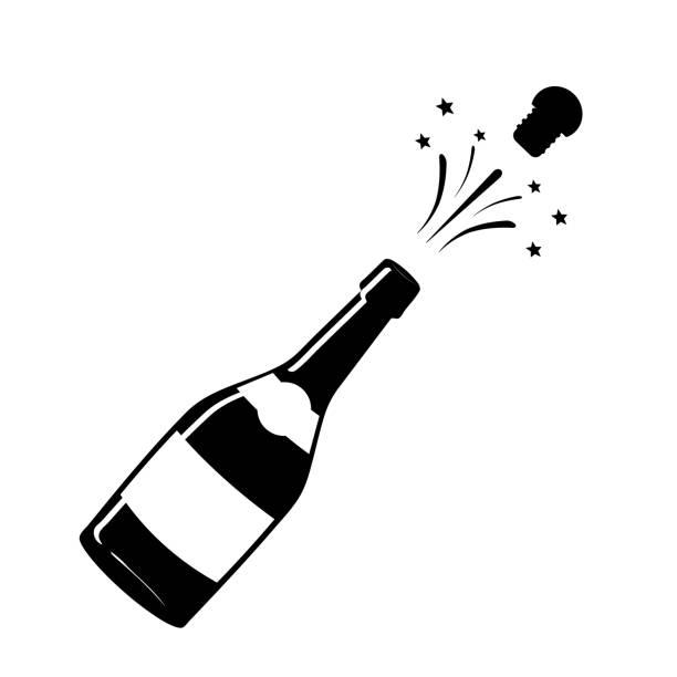 illustrazioni stock, clip art, cartoni animati e icone di tendenza di champagne icon. black silhouette of a champagne bottle. iconography. vector illustration. - bottle soft drink