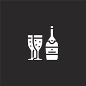 champagne icon. Filled champagne icon for website design and mobile, app development. champagne icon from filled party collection isolated on black background.