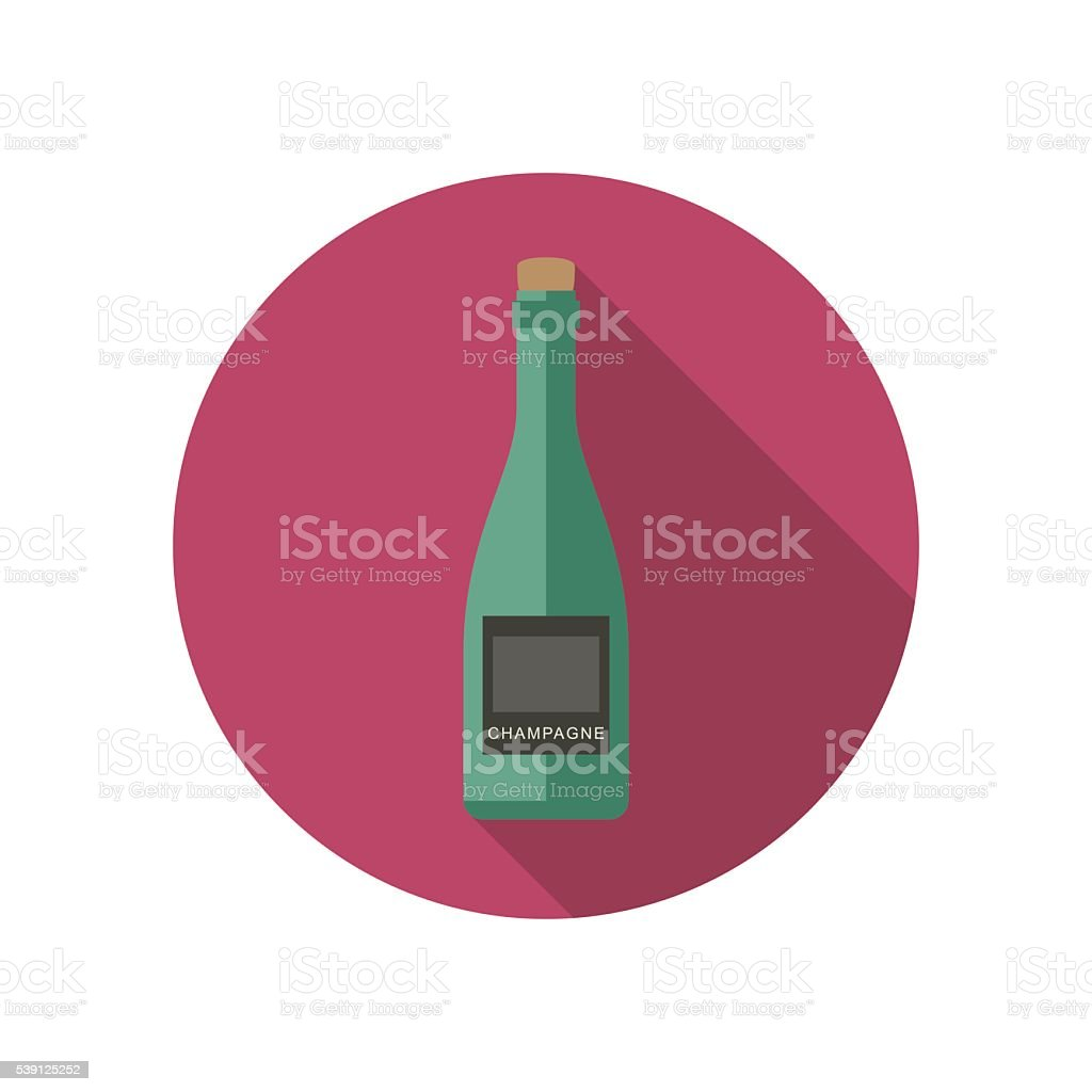 Champagne icon in flat style vector art illustration
