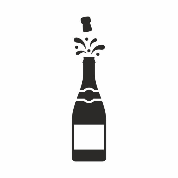stockillustraties, clipart, cartoons en iconen met champagne pictogram - kurk