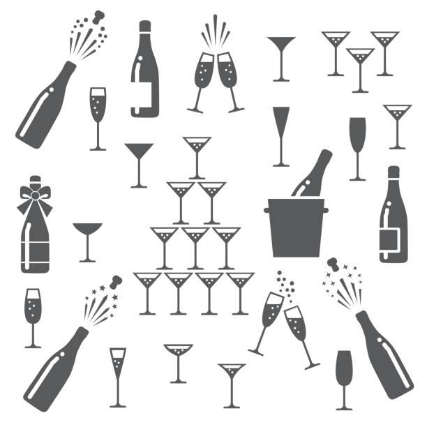 ilustrações, clipart, desenhos animados e ícones de conjunto de ícones de champanhe - brinde