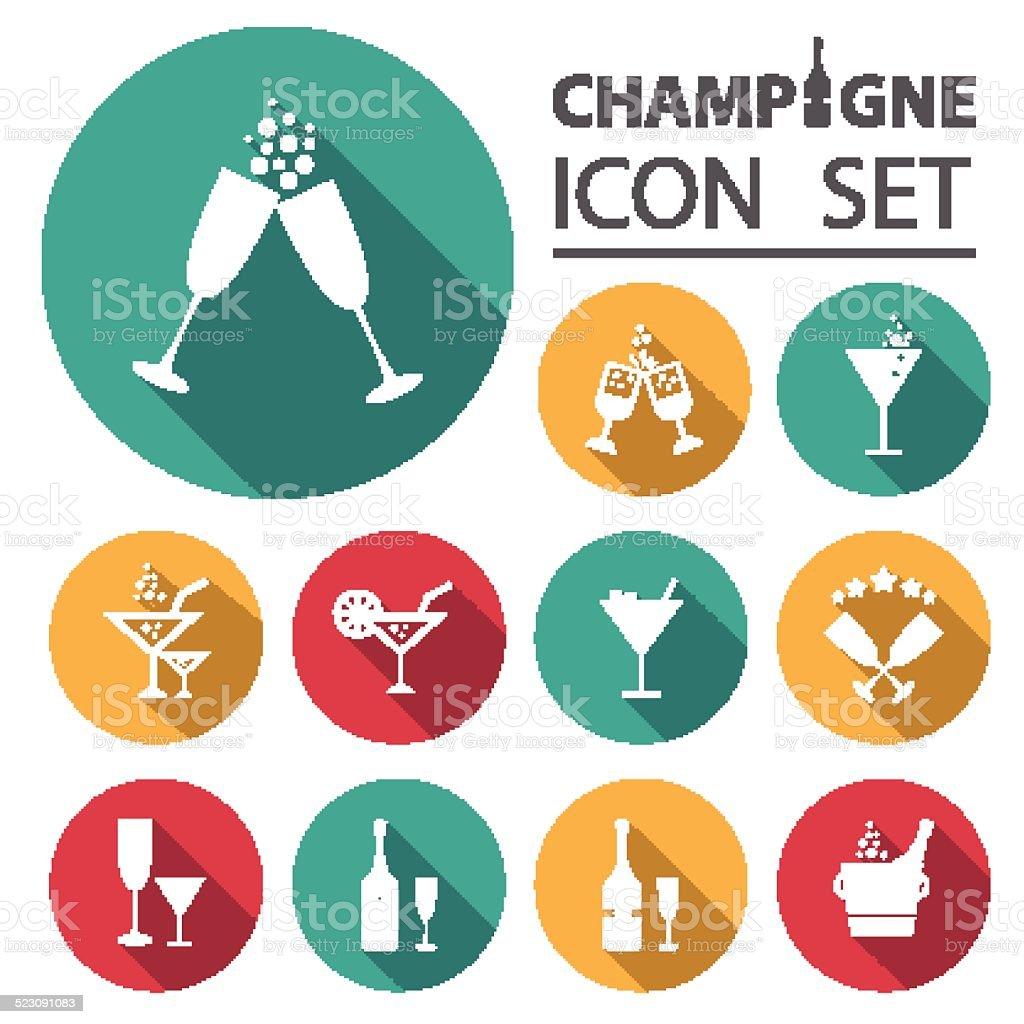 Champagne icons set.Vector/Illustration. vector art illustration