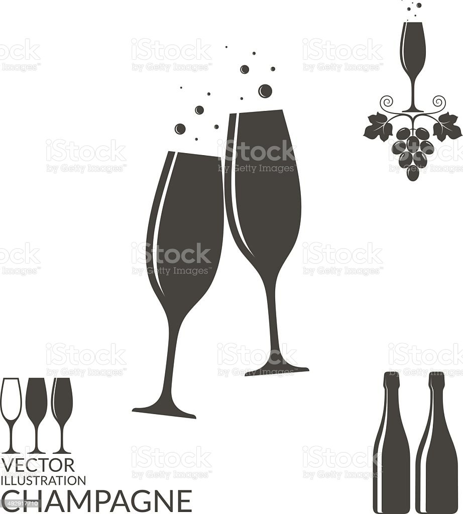 Champagne. Isolated wineglasses and bottles vector art illustration
