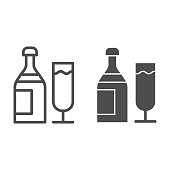 Champagne line and solid icon. Bottle of drink and glass for party symbol, outline style pictogram on white background. Drinks or holiday item sign for mobile concept and web design. Vector graphics