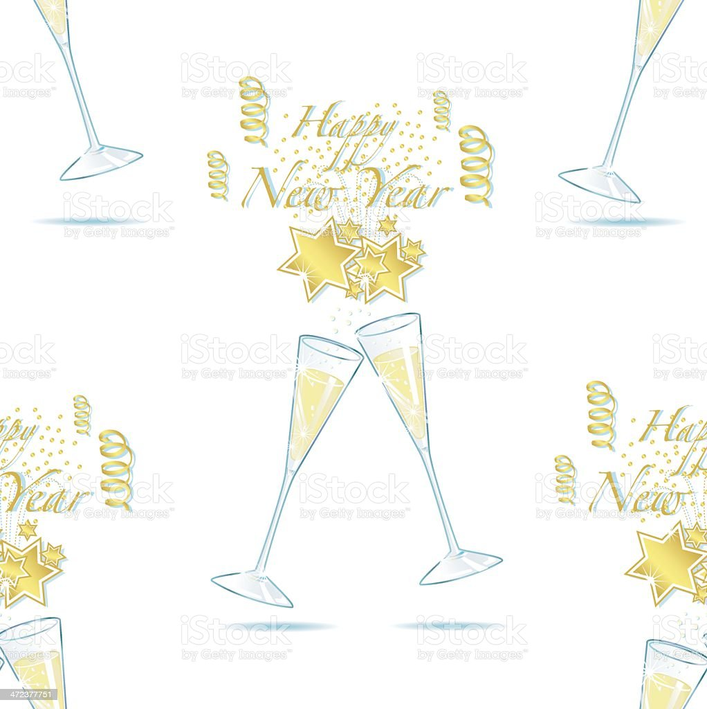 Champagner Sylvesterparty (seamless pattern). royalty-free stock vector art