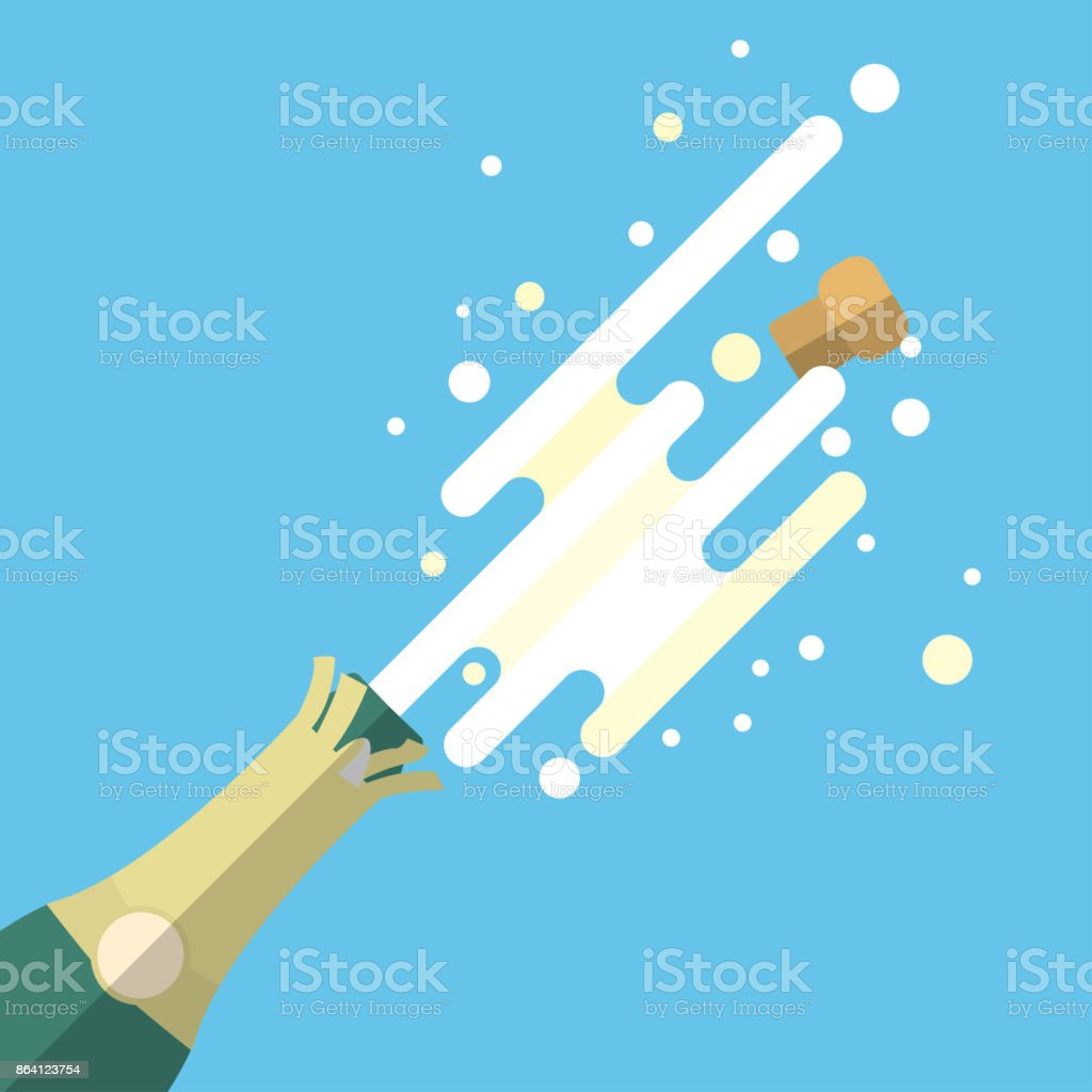 Champagne popping flat vector design. royalty-free champagne popping flat vector design stock vector art & more images of alcohol