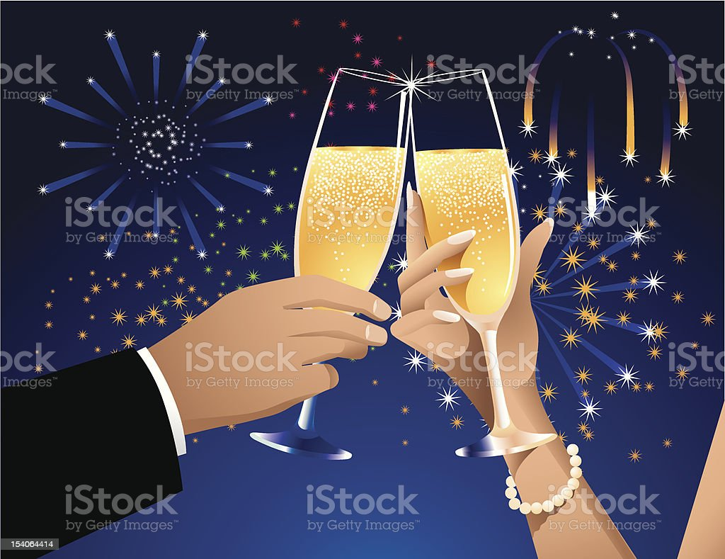 Champagne Toast and Fireworks royalty-free champagne toast and fireworks stock vector art & more images of adult