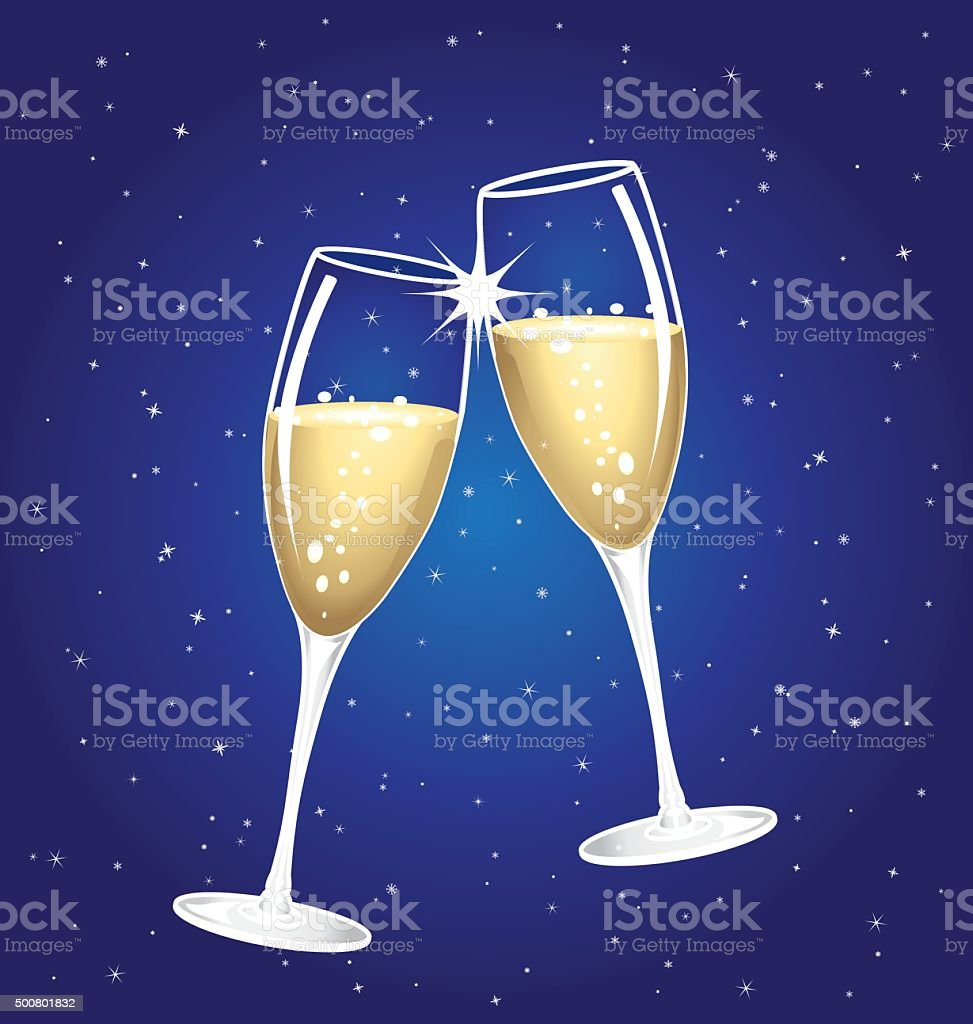 Champagne toast cups on a blue starry night. vector art illustration