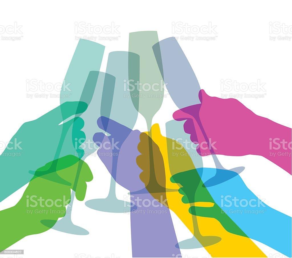 Brindisi con Champagne - illustrazione arte vettoriale
