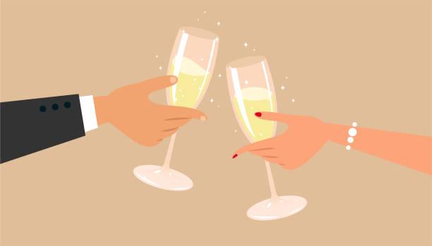 ilustrações, clipart, desenhos animados e ícones de champanhe - brinde