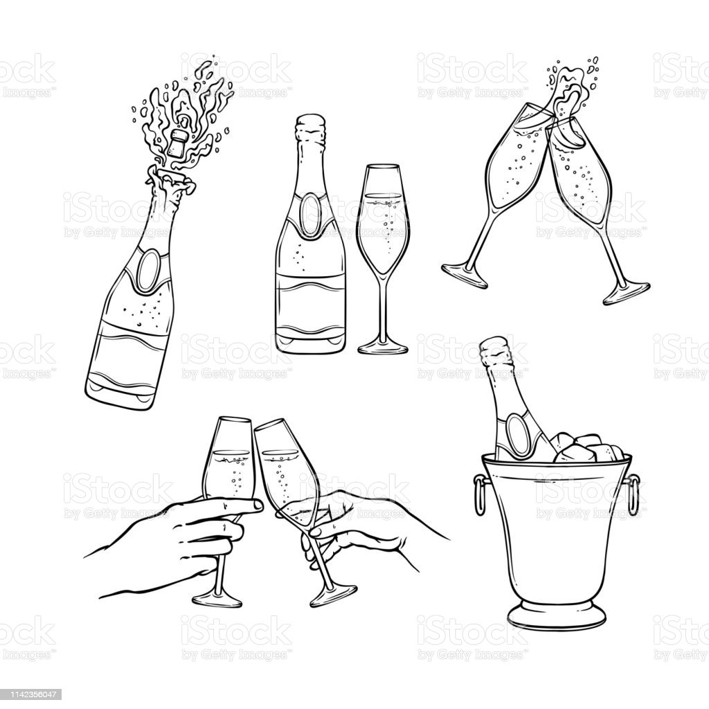 Champagner-Vektorillustration im Schwarz-Weiß-Skizzen-Stil. - Lizenzfrei Alkoholisches Getränk Vektorgrafik