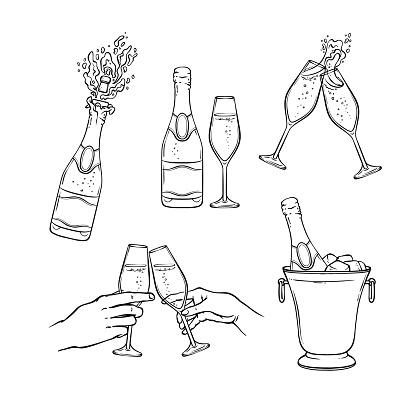 Champagnervektorillustration Im Schwarzweißskizzenstil Stock Vektor Art und mehr Bilder von Alkoholisches Getränk