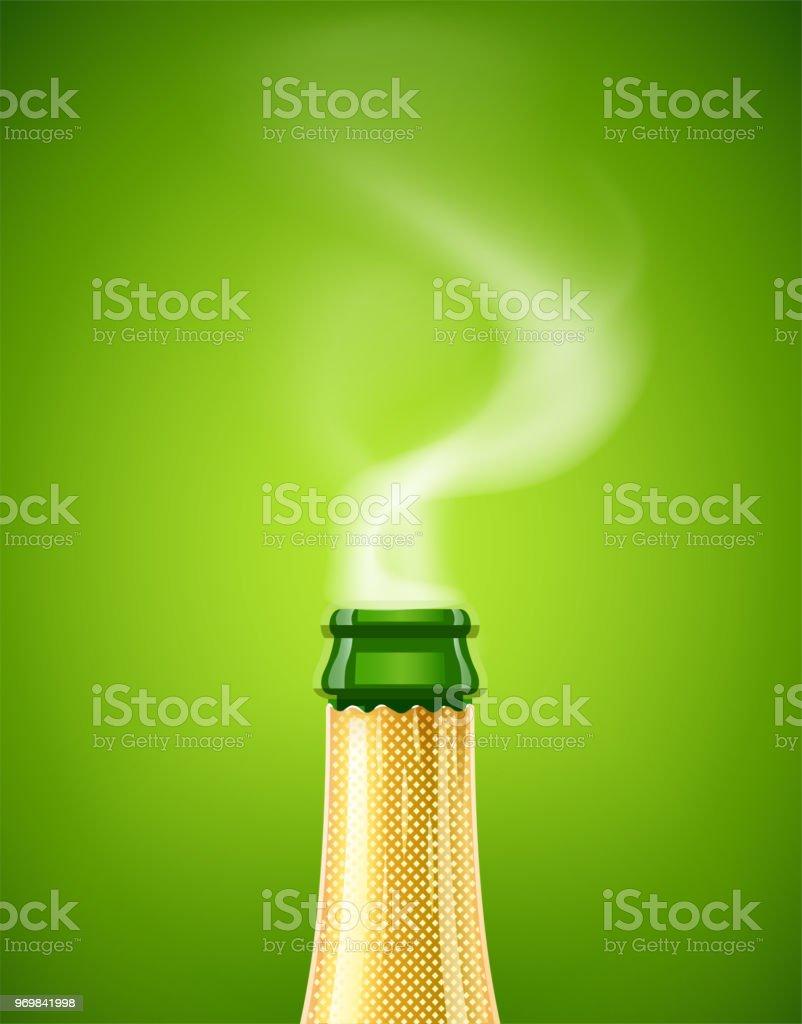 Champagner Weinflasche Mit Rauch Französische Traditionelles Getränk ...
