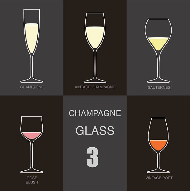 champagne wine glass cup flat icon design - champagnerglas stock-grafiken, -clipart, -cartoons und -symbole