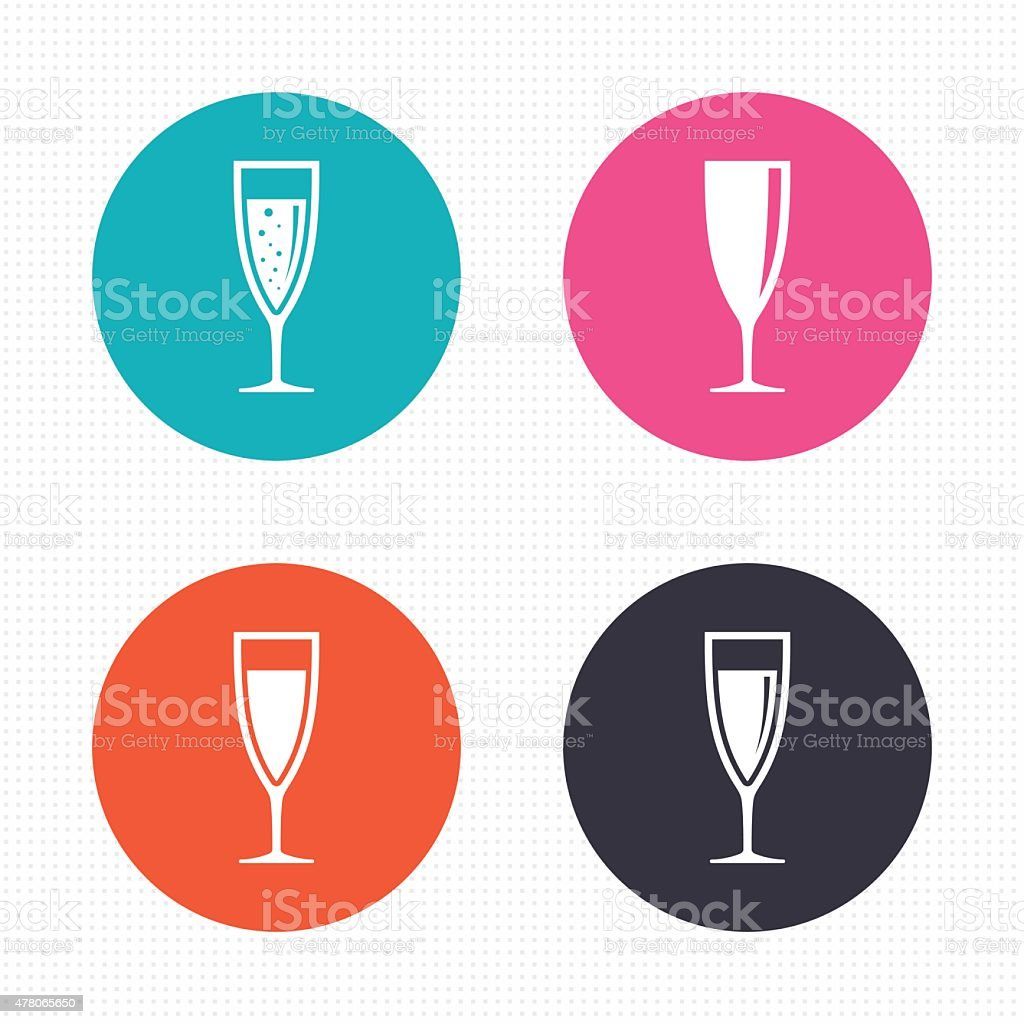 Champagne wine glasses signs. Alcohol drink vector art illustration