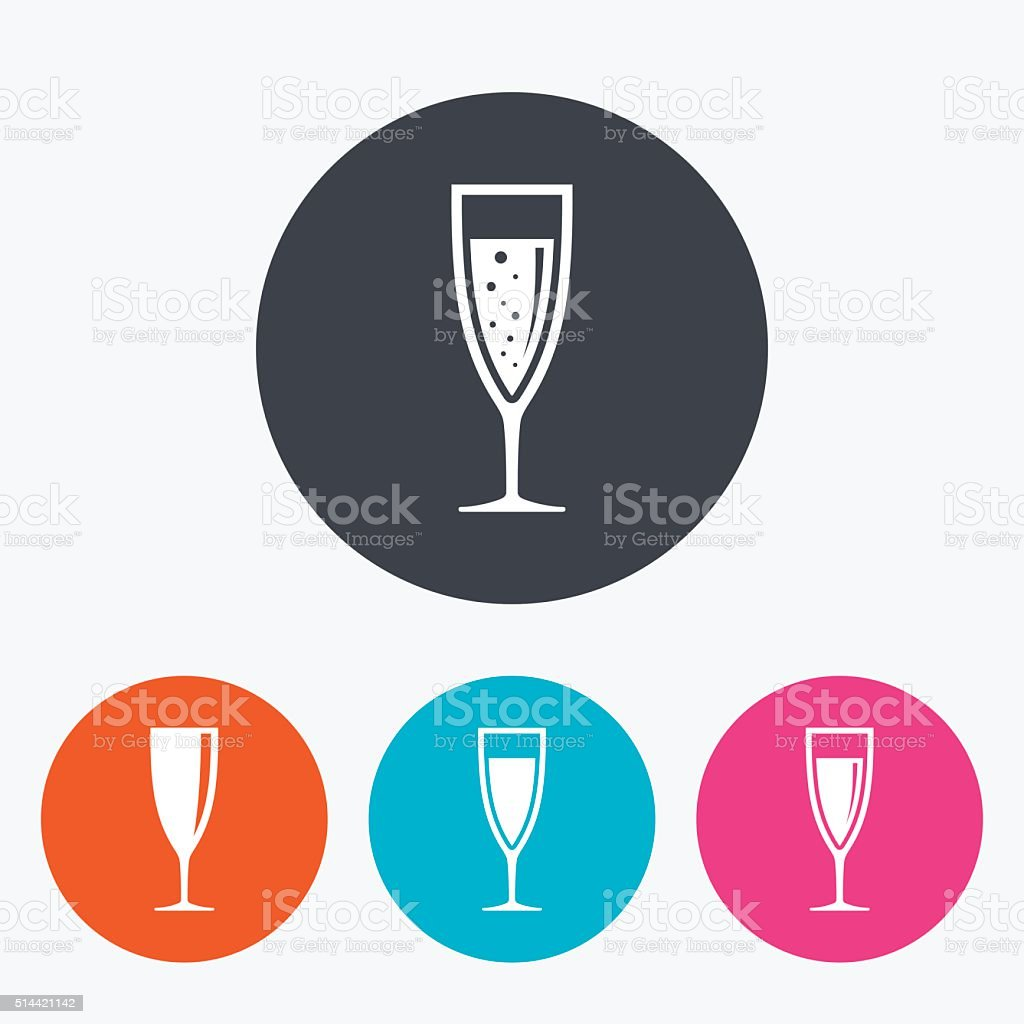Champagne wine glasses signs. Alcohol drink. vector art illustration