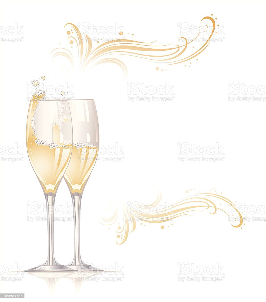 Champagne with drops royalty-free stock vector art