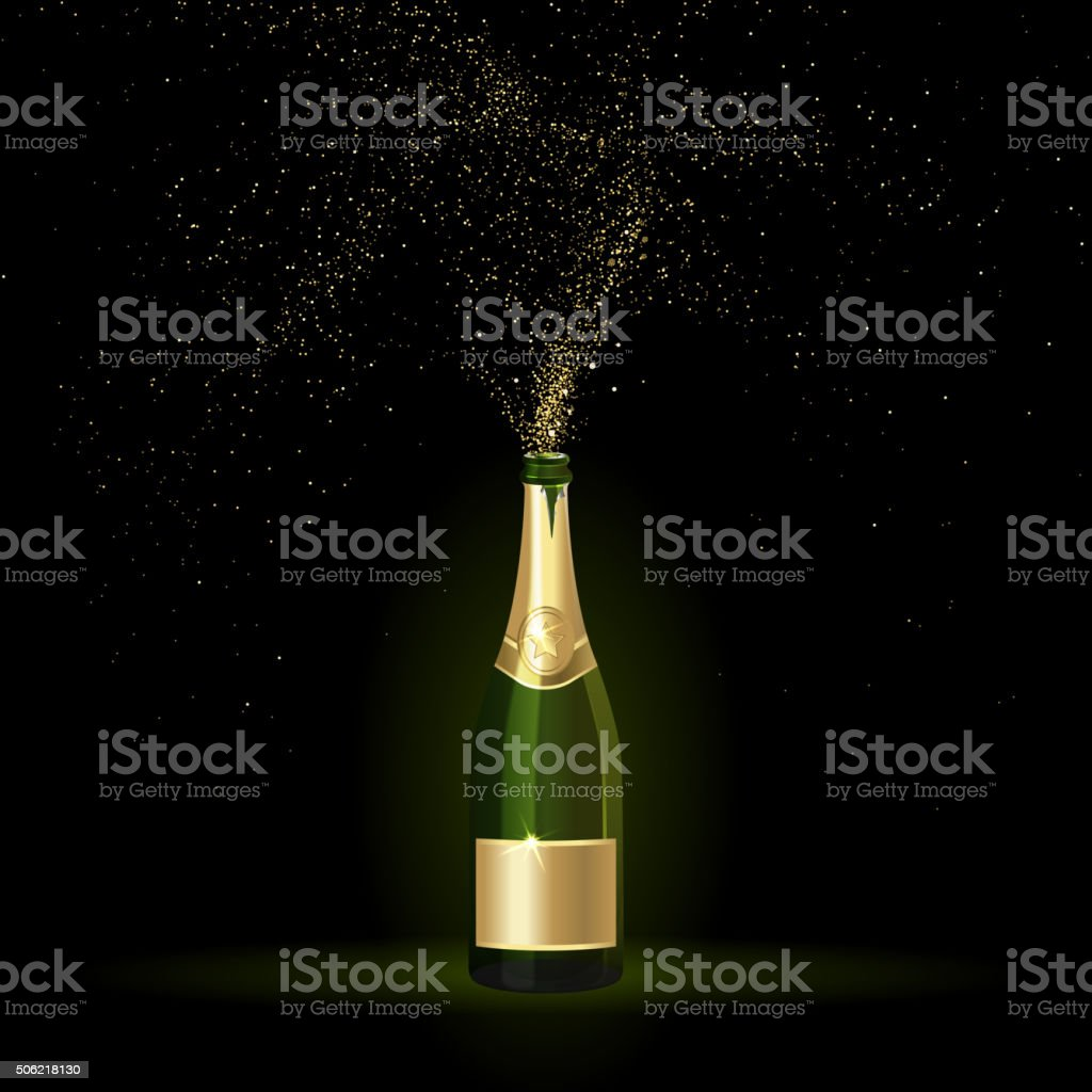 Champagne with Gold Confetti vector art illustration