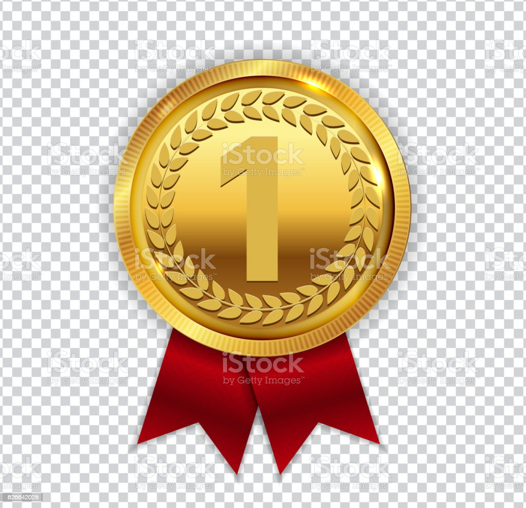 Champion Art Golden Medal with Red Ribbon l Icon Sign First Plac vector art illustration