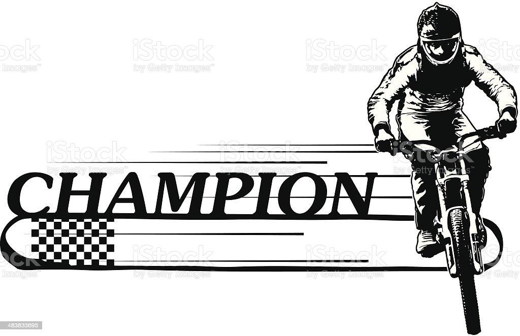 champion banner with bike rider vector art illustration