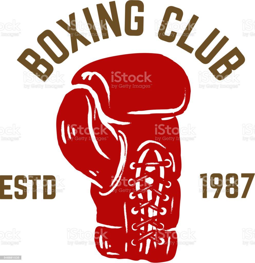 champion boxing club emblem template with boxer glove design element