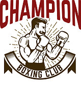 Champion boxing club. Vintage style boxer fighter.